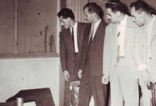 أعضاء في نادي الفنون الجميلة في السويداء في استوديو تلفزيون بغداد 1963