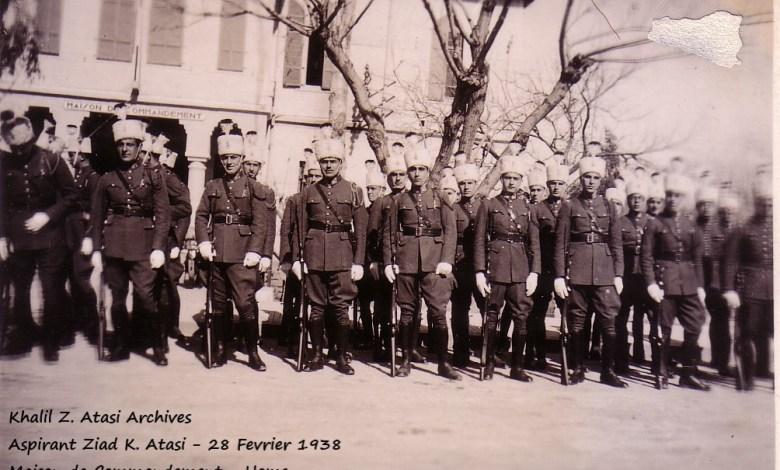 زياد الأتاسي مع طلاب الكلية الحربية في حمص عام 1938