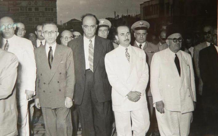 جمال الفيصل في جنازة سليمان المعصراني 1955