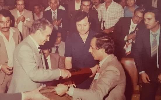 عبد السلام العجيلي ومحمد سلمان محافظ الرقة عام 1981