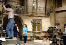 سلمى المصري وعباس النوري أثناء تصوير مسلسل الهجرة الى الوطن عام 1987