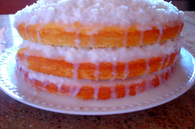Coconut Cake with Sour Cream Filling ~ Syrup and Biscuits