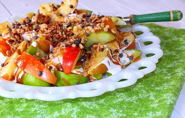 Apple Nachos. Apple slices topped with caramel, marshmallow, chocolate chips and toffee bits