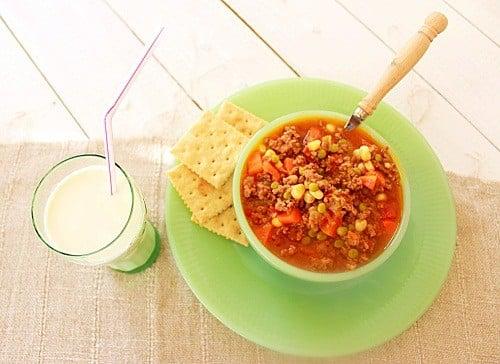 School lunchroom Hambuger Soup