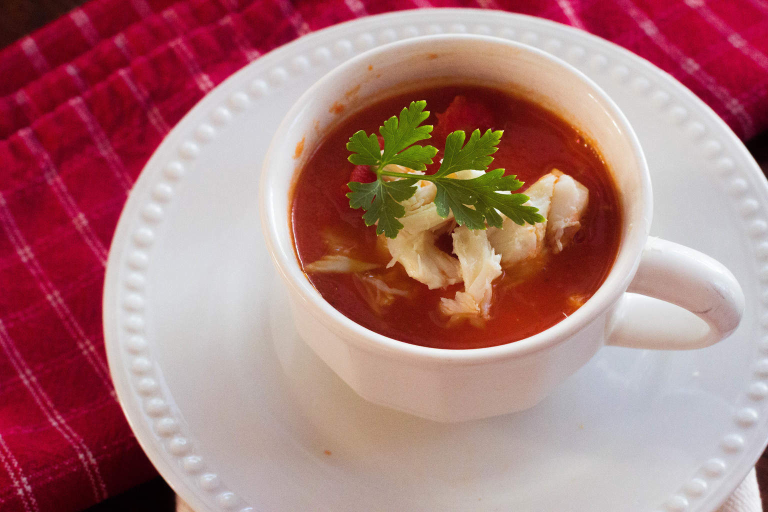 Roasted Red Pepper and Tomato Soup with Crab