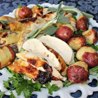 Roast Chicken with potatoes served rustic style ~ Syrup and Biscuits