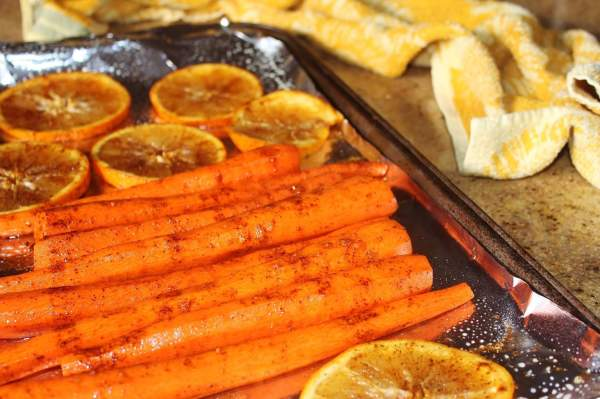 carrots and oranges for roasting