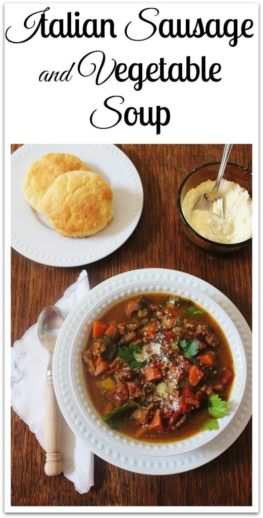 Italian Sausage and Vegetable Soup. Italian sausage, ham and vegetables create an easy hardy meal.
