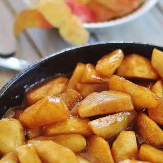 Fried Apples. Sliced apples cooked in butter, brown sugar and cinnamon. Serve for breakfast or along side a pork dish for supper.