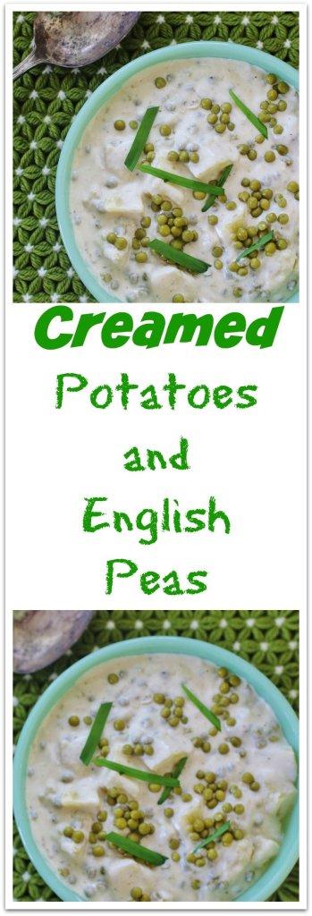 Creamed Potatoes and English Peas. Yukon gold potatoes and tender English peas cooked in a creamy white sauce.