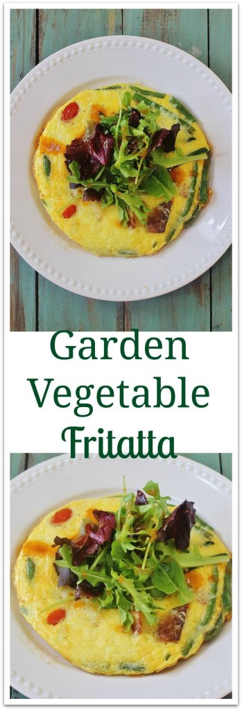 """Garden Vegetable Frittata. Use leftover or fresh vegetables and top with salad greens for a vegetable heavy meal. A great """"clean out your refrigerator"""" option."""