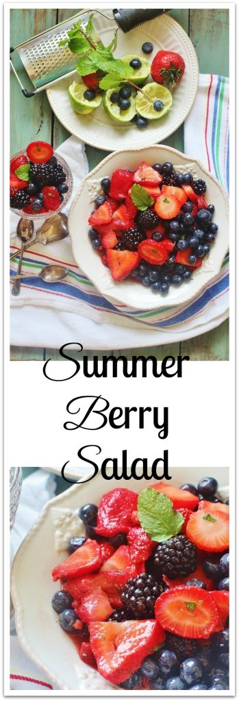 Summer Berry Salad. A simple mix of strawberries, blueberries and blackberries with a minty honey lime dressing.