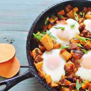 Sweet Potato and Bacon Hash with Baked Eggs