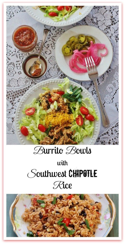 Burrito Bowls with Southwest Chipotle Rice. Bowls, not tortillas, filled with Southwest Chipotle Rice, Fiesta Pulled Pork, and all the traditional burrito toppings.