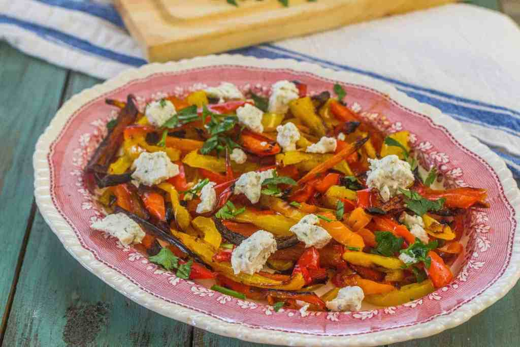 Simple Roasted Sweet Bell Peppers with Herbed Goat Cheese | Syrup and ...