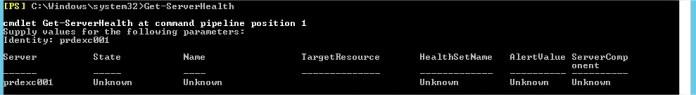 Result of command Get-ServerHealth