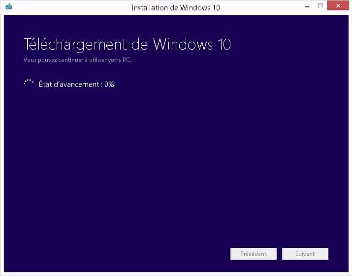 Windows 10 - Telechargement en cours