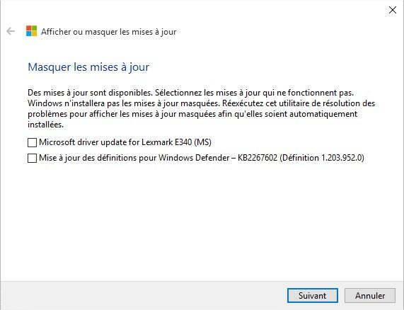 Windows10 - utilitaire choisir les mises à jour masquées