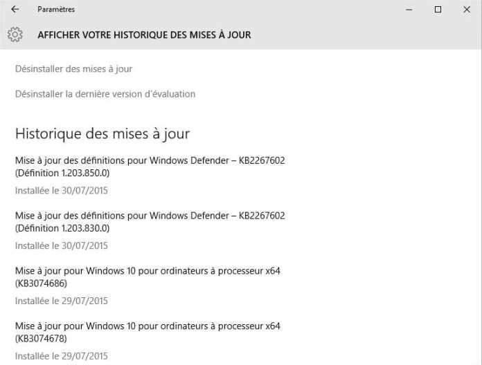windows10 - historique des mises à jour 2