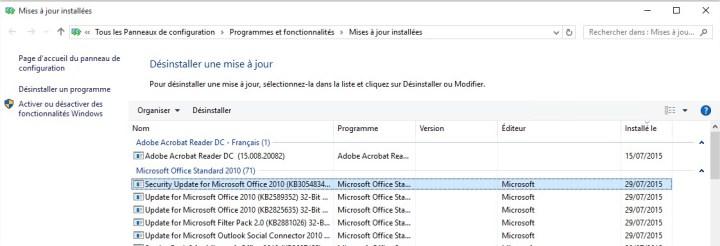 windows10 - selectionner une mise à jour