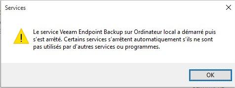 Veeam Endpoint Backup - Erreur service