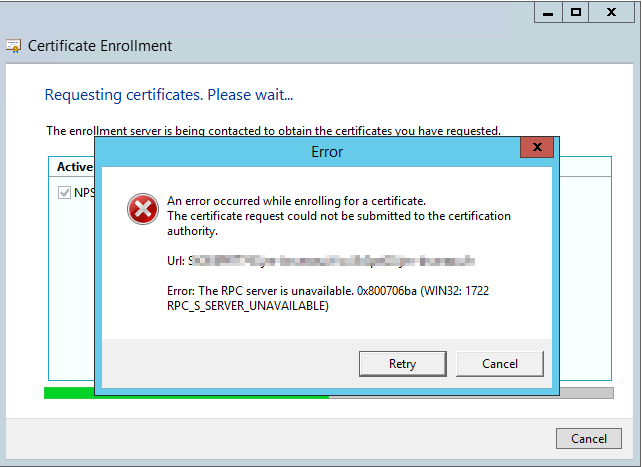 TSHOOT_Certificat_The_RPC_server_is_unavailable_0x800706ba_Win32_1722_01