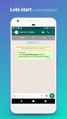 3.webp  2 - تطبيق Quick Message لمراسلة أي شخص بالواتساب دون إضافته كجهة اتصال