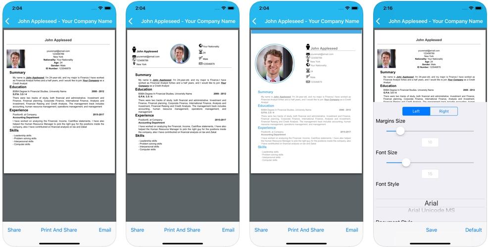 2019 11 04 09 54 12 Window - تطبيق Maseerati يساعدك في كتابة السيرة الذاتية حيث يقدم 4 نماذج يمكنك أن تختار منها