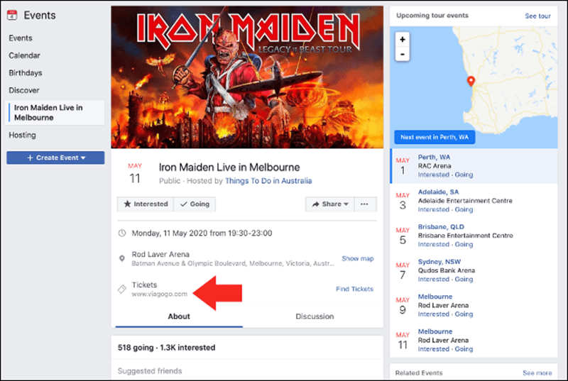 Ticket Scalper Event Scam - 6 خدع احتيالية خطيرة يجب الحذر منها على فيسبوك