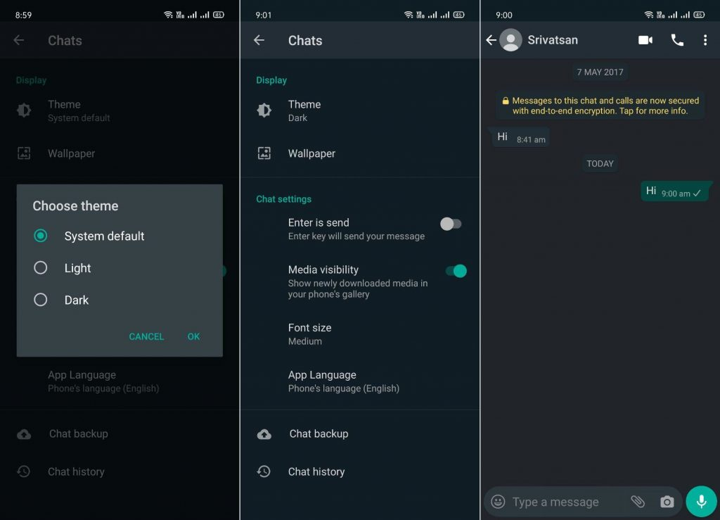 WhatsApp Dark Theme Android 1024x739 1 - أخيرا الثيم المظلم وصل تطبيق الواتس اب بعد طول انتظار