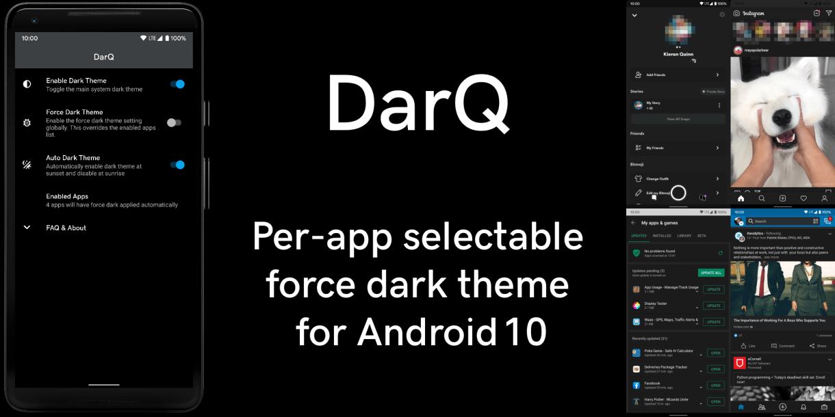 DarQ - تطبيق DarQ يأتي بالوضع المظلم إلى التطبيقات التي لا تدعمه والمزيد