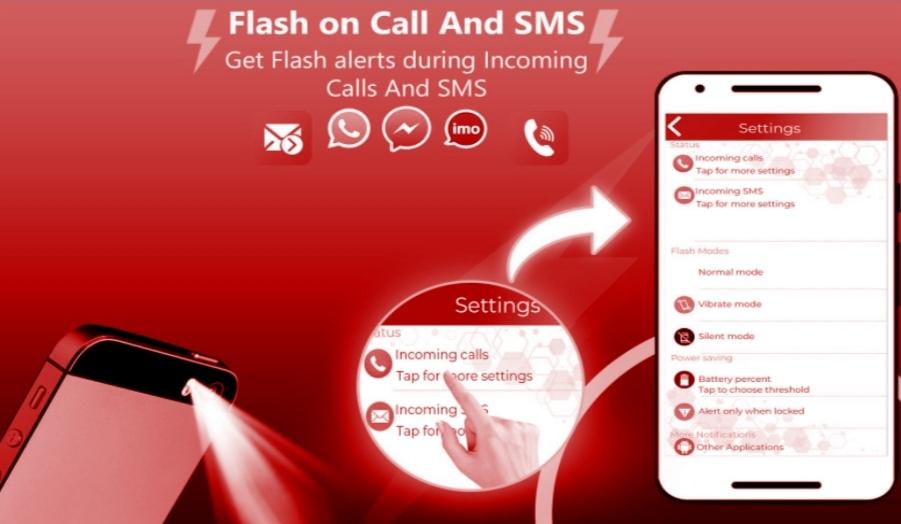 تطبيق فلاش أون كول أند إس إم إس Flash in call and sms - كيفية تشغيل الفلاش عند الاتصال اوبو oppo f9 و هواوي