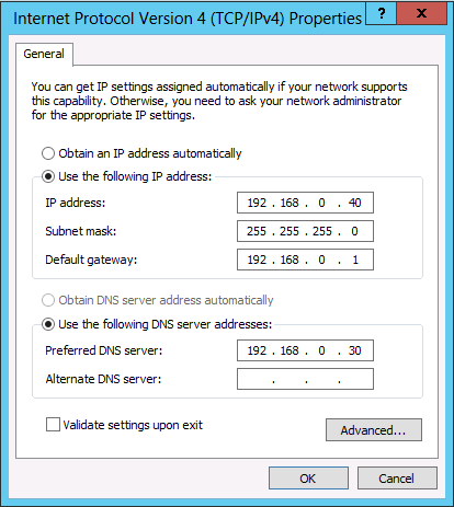 static IP Address to windows server 2012