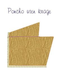 Slik ser ponchoen ut når forstykket og bakstykket er sydd sammen