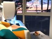 Ble helt overrasket da jeg så ut av vinduet - her er min symaskin i solnedgang