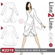 Overdelen til kjolen er dette Line2Line mønsteret: Underdelen er fra Line2Line K267.