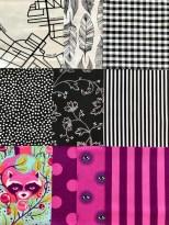 Ti forskkjellige bomullsstoffer er brukt i skjørtet - 4 fra Tula Pink's flotte, fargerike designs og ikke minst en hel del fra de to rutete skjortene som ble kjøpt på HM.