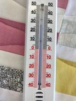 Jeg valgte en varm dag å quilte på....