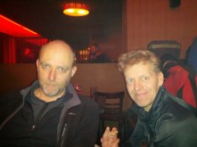 Paulus and Bas at the foggy social event