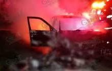 Matan a sujeto e incendian una camioneta