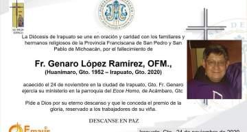 Murió Fray Genaro López Ramírez, adscrito a la Parroquia del Santo Ecce Homo de Acámbaro