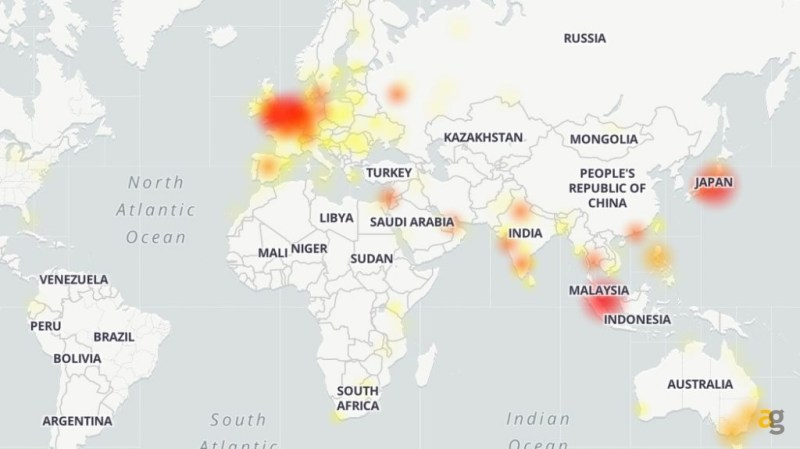 The Google down map around the world. Credits: Andrea Galazzi