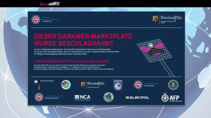 The closing notice of darkmarket, one of the largest black markets on the deep web. Credits: Europool