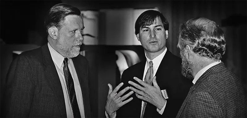 Charles Geschke with Steve Jobs. Apple computers were the first to use PostScript. Source: Fotografia.it