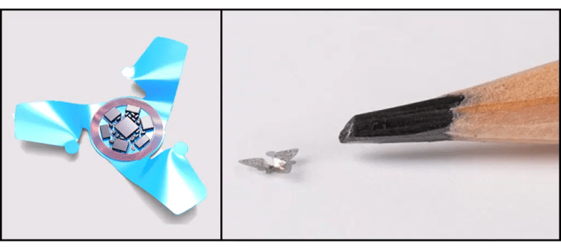 The smallest microchip in the world made at Northwestern University in Chicago is even smaller than the tip of a pencil (right figure). On the left, however, you can see the model used by the researchers to obtain the shape reminiscent of the Tristellateia leaf. Credit: Northwestern University.