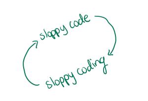 sloppy code leads to sloppy coding, and back to sloppy code.
