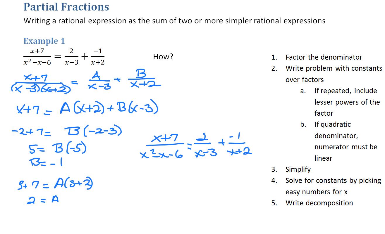 Partial Fraction Decomposition Worksheet
