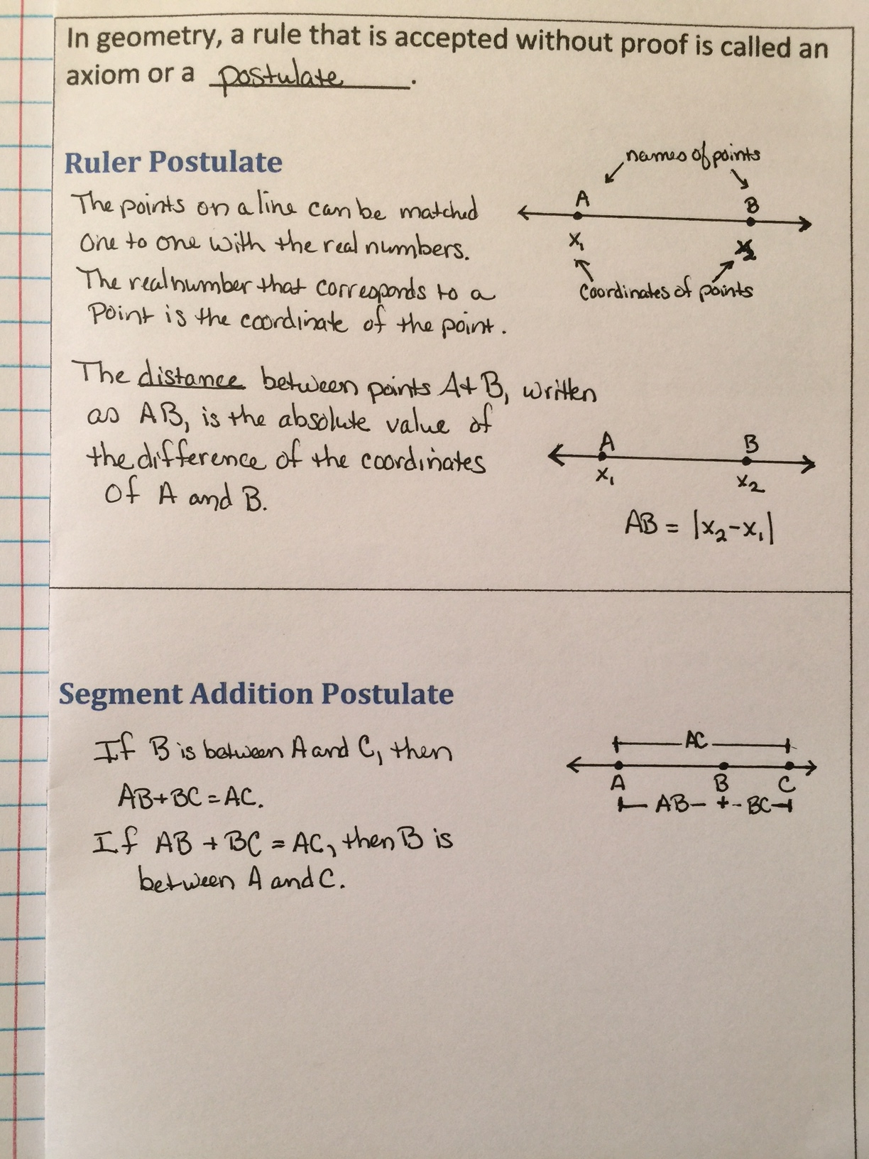 Ruler And Segment Addition Postulates