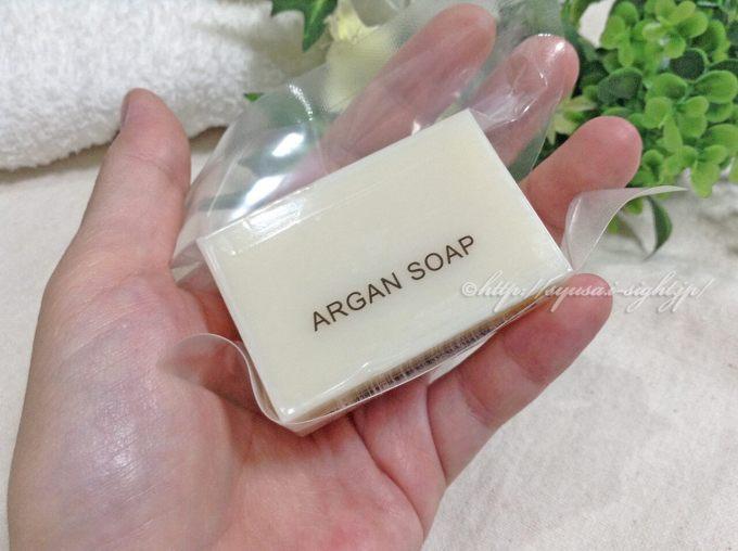 イアード、アルガン石鹸の口コミ:40gで手のひらサイズ。それなりの回数洗えます。