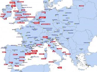 Kinagyítható térkép a Ryanair desztinációival